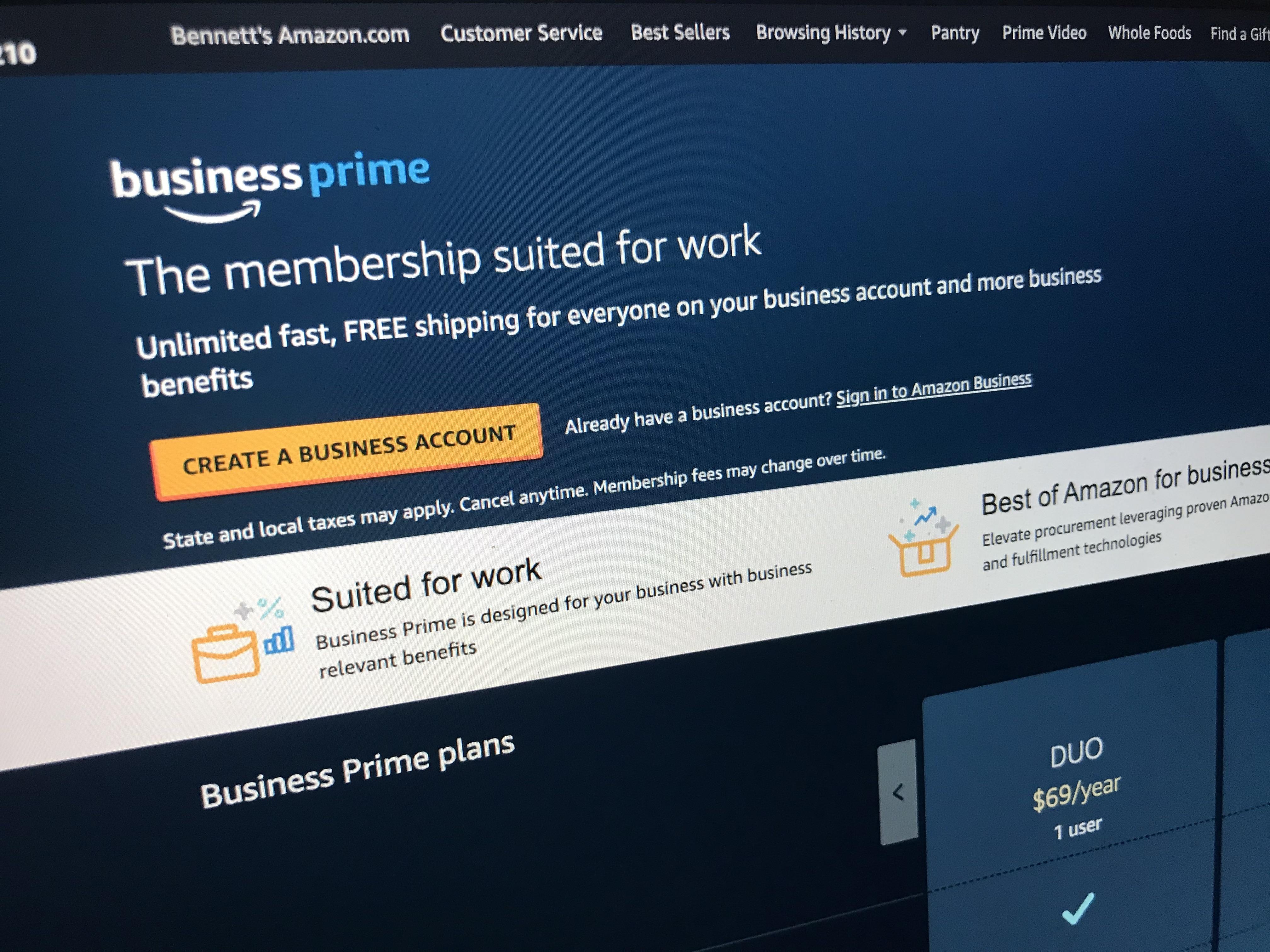 amazon business account details